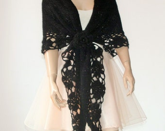 Hand Knitted Crochet Shawl Mohair/Triangle Shawl/ Handmade Shawl Black