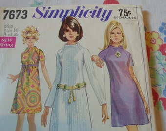 Vintage Womens Dress Pattern Simplicity Size 14 B 36'' 1960's Dress Patterns Vintage Dress Patterns Vintage Sewing Womens Dress Pattern