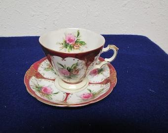 vintage  Rose Pattern TEA CUP  and SAUCER  Set , 6443,  gold trim