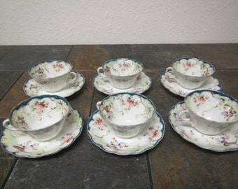 vintage Set of 6 Decorative Tea Cups and Saucers , unmarked, floral pattern