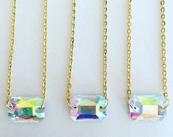 Iridescent Emerald Cut Glass Necklace