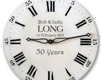 Custom 50th, 40th, 25th Anniversary Clock - Personalized with Your Choice of Wording