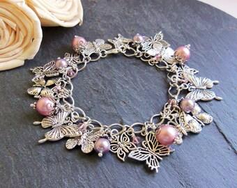 Pink and purple pearl crystal butterfly charm bracelet, butterfly bracelet, Swarovski Elements pearl bracelet, gift for her, graduation gift
