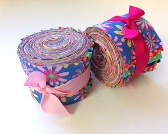 2.5 inch  Daisy Jelly Roll 100% cotton fabric quilting strips