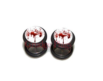 Bloodspatter FAKE Plugs / Post Earrings - 1 Pair (2 earrings) - Made to Order