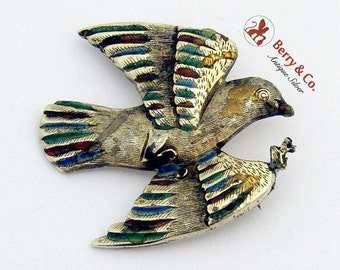 SaLe! sALe! Enamel Bird Brooch Sterling Silver