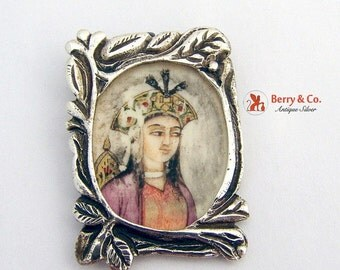 SaLe! sALe! Indian Traditional Pendant Miniature Girl Portrait Sterling Silver 925 Frame Hand Painted Antique 1900s