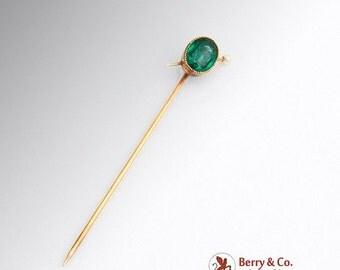 SaLe! sALe! Vintage Stick Pin Green Glass Gem Seed Pearl 14 K Gold