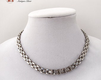 Mexican Modernist Short Chain Necklace Sterling Silver