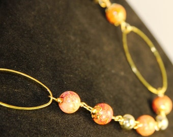 Bright Sunny Art Glass Wire-Wrapped Hoop Necklace