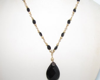 """SALE!! 16.75""""Black Agate and Onyx Necklace with Gold Filled Wire Wrapped Chain"""