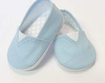 MADDIES - Toms Style Shoes for 18 inch dolls - Light Blue Cotton