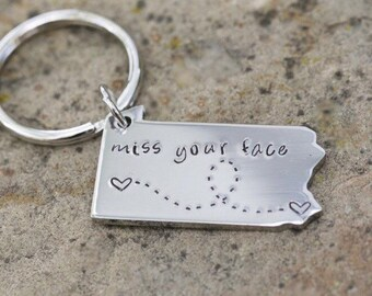 Custom State Keychain - Pennsylvania Keychain - Going Away Gift - Long Distance Relationship Gift Personalized Message