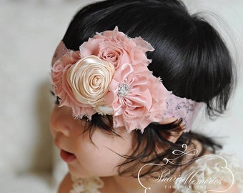 Blush Headband/Shabby Chic Headband/Infant Headband/Baby Headband/Newborn Headband/Toddler Headband/Girls Headband/Birthday Headband