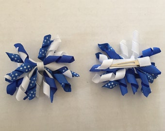 Set of Blue and White Korker Hair Clips 3""