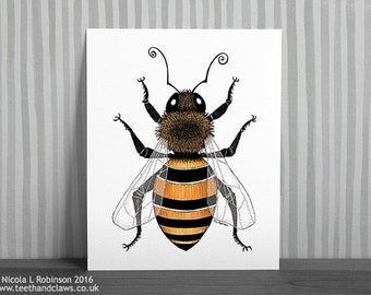 Honey Bee Art Print, Bee Print, Honey Bee Illustration, Bee Drawing, Nature Print, Insect Art, Bee Insect, Bees, Bumble Bee Wall Art, Bugs