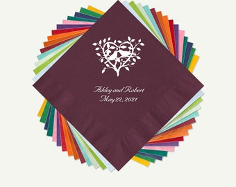 Love Birds Wedding Cocktail Or Luncheon Napkins | Love Birds Personalized Color Napkins Pressed In Your Choice Of Foil Color.