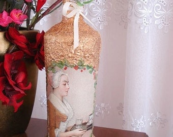 Decoupaged bottle with golden ornaments and vintage Lady art- vintage art bottle- Wine  bottle