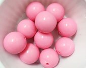 Set of 10 Bubblegum Pink Solid Acrylic Bubblegum Beads. 20mm. Gumball Necklace. Chunky Beads.