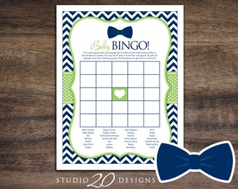 Instant Download Bow Tie Baby Shower Bingo Game, Printable Little Man Baby Bingo, Lime Green Navy Chevron Theme Baby Shower Bingo Game 79A