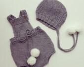 pom pom cotton merino Knit Baby romper -  handmade onesies - baby pants - newborn romper - baby overalls  - baby photo props - newborn shots