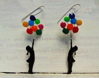 Banksy Flying Balloons Girl handmade earrings
