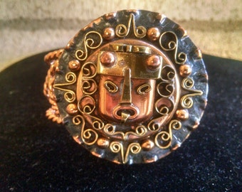 Vintage Mexico Copper Aztec god Cuff Bracelet