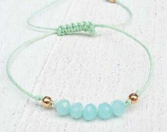 Mint bracelet with soft blue faceted beads   Friendship Bracelet   adjustable bracelet
