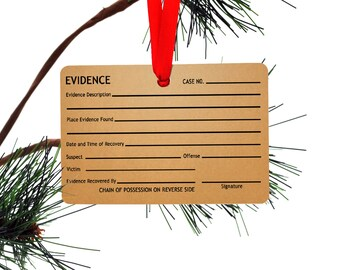 Evidence Tag Funny Christmas Tree Ornament