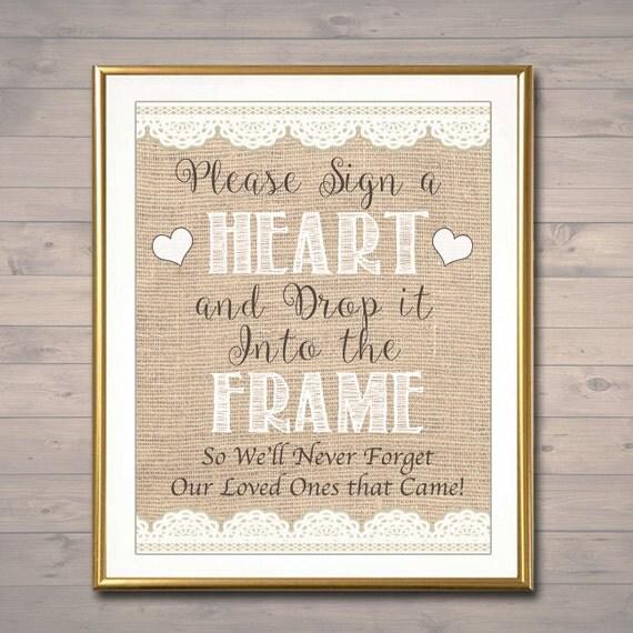 Please Sign A Heart Shadow Box Wooden Heart Wedding Guest