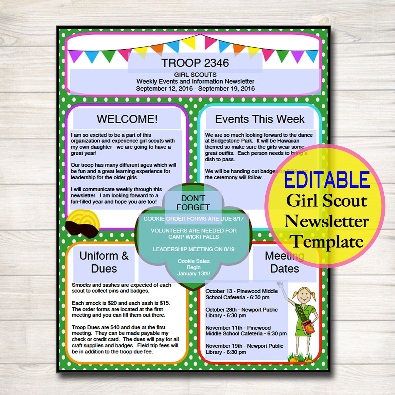 Girl scouts newsletter template instant editable troop for Girl scout order form template