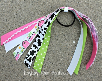 Life Is Better On The Farm Ponytail Streamer - Ponytail Ribbons - Ponytail Holder Ribbons - Ponytail Streamer Ribbons - Cheer Ribbons - Farm