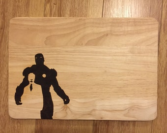 Large hand burned Iron Man and Tony Stark silhouette pyrography chopping board