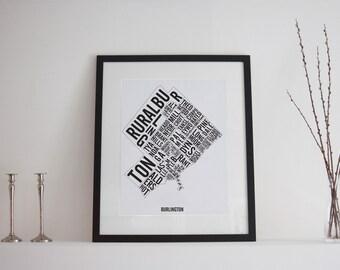 Burlington Neighbourhoods City Map Poster - Burlington Art - Burlington Map - Typography Map