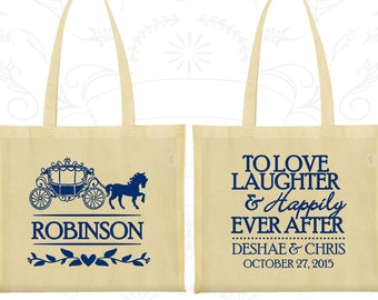 Love Laughter Happily Bags, Customized Gift Bags, Princess Carriage, Fairy Tale Wedding Bags, Personalized Tote Bags (443)