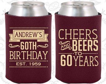 60th Birthday (C20001) 60th Birthday Favors, Adult Birthday, Cheers to 60 Years, Cheers and Beers, Party Favors