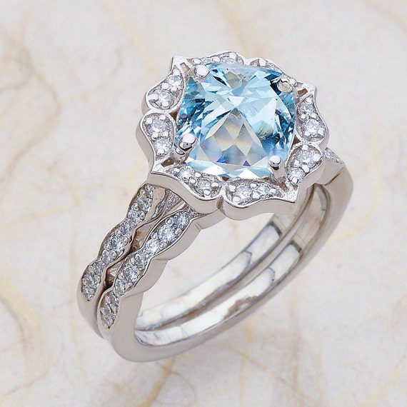 aquamarine wedding rings aquamarine engagement ring cushion cut engagement ring halo 1358