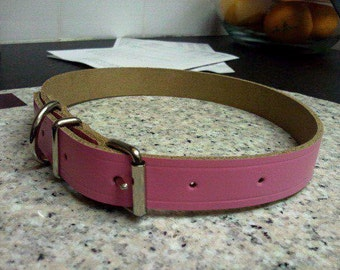 Pink or purple leather dog collar