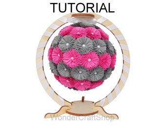 Paper Flower Ball Tutorial, Quilling Tutorial, Paper quilling instruction, fringed strips, diy, step by step, pdf, flower ornament
