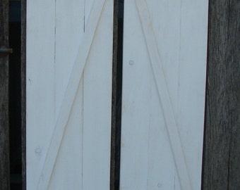 "Hand made rustic  shutters 11 "" X  24""   white distressed two in a set."