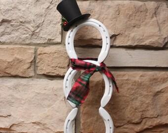 Horseshoe Snowman Holiday Decor