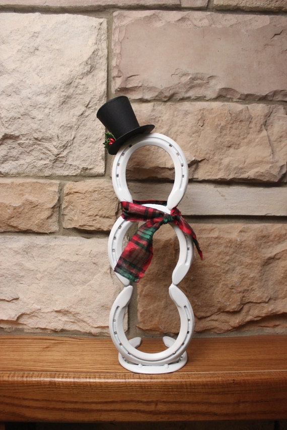 Horseshoe snowman holiday decor for Christmas tree made out of horseshoes