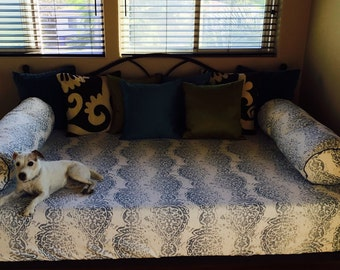 fitted full or queen sized daybed or futon cover customize fabric and size  custom futon covers   etsy  rh   etsy