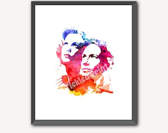 The X Files Personalised Art Print Mulder Scully Picture David Duchovny Gillian Anderson 8x10 10x12 12x16 16x20 A3 A2 A1 Wall Art Poster