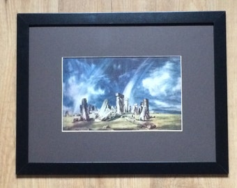"Framed and Mounted Stonehenge Print by John Constable 16"" x 12"""