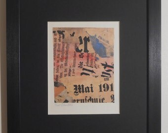"""Mounted and Framed - Untitled May 191 Print by Kurt Schwitters - 14"""" x 11"""""""