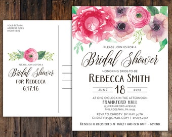 Pink Peony Anemone Bridal Shower Postcards in Rustic Boho Vintage Watercolor Succulent Calligraphy Design