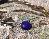 Handmade Starry Night Fused Dichroic Glass Pendant Necklace with Sterling Silver & Sterling Silver Chain