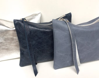 Leather pouch blue, blue leather purse, small leather bag blue