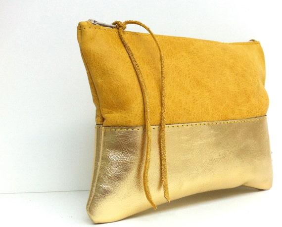 """Leather case """"SAFRAN/GOLD"""""""